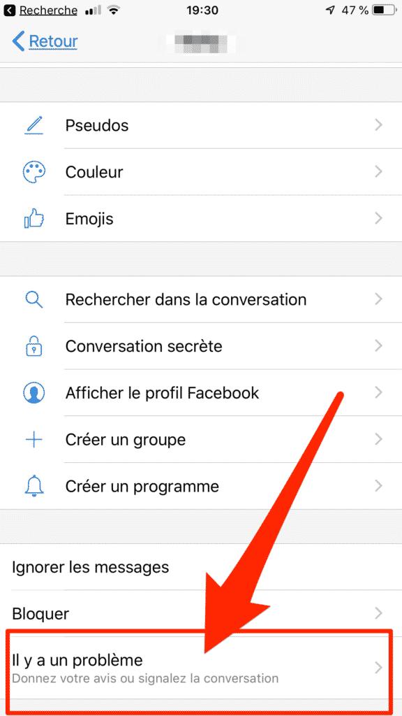 Comment signaler une conversation dans facebook messenger